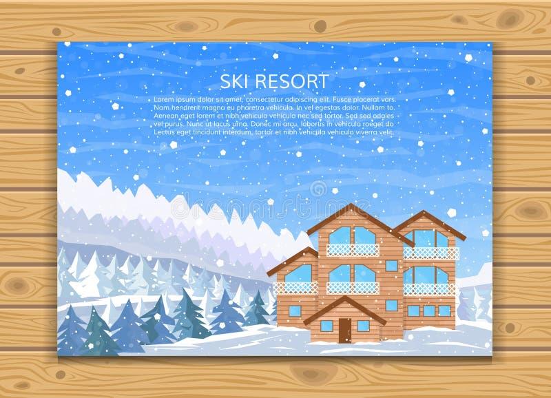 Estación de esquí, hotel, o casa de la familia del invierno por días de fiesta ilustración del vector