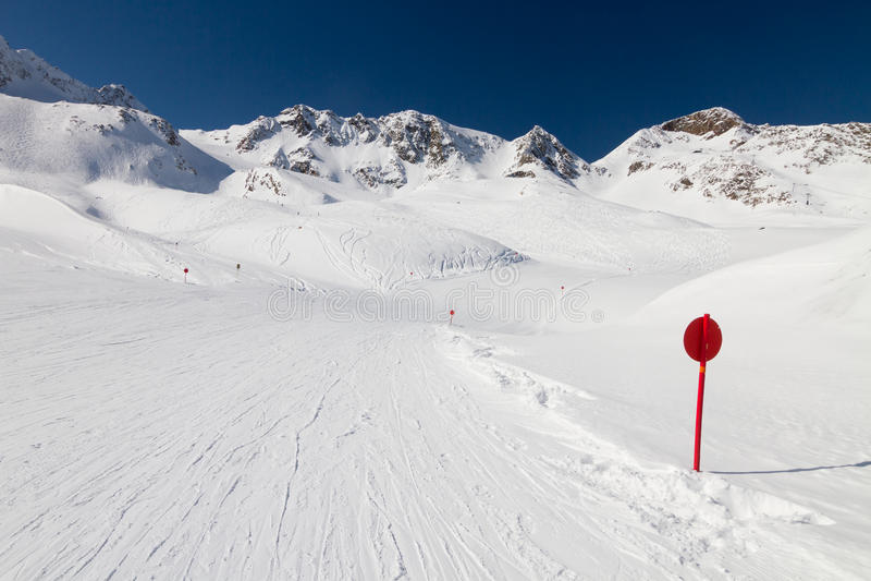 Estación de esquí Stubai de Winer fotografía de archivo libre de regalías