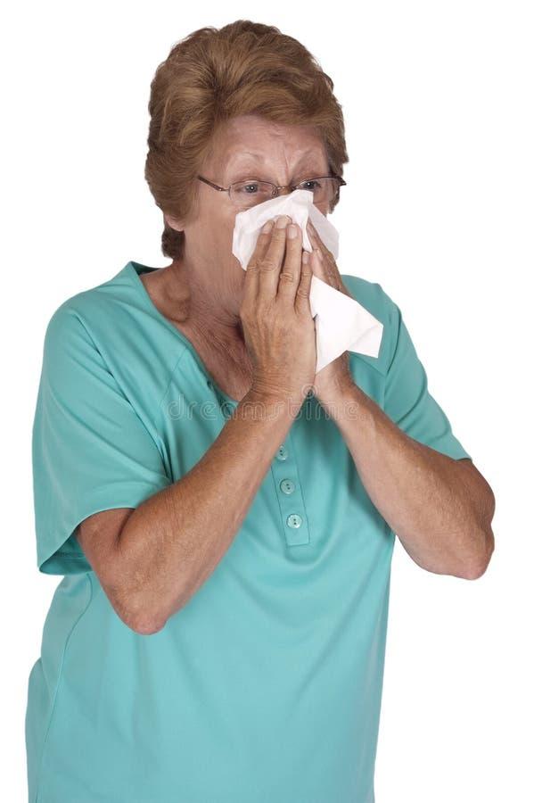 Estación de gripe fría de la mujer mayor madura aislada foto de archivo libre de regalías