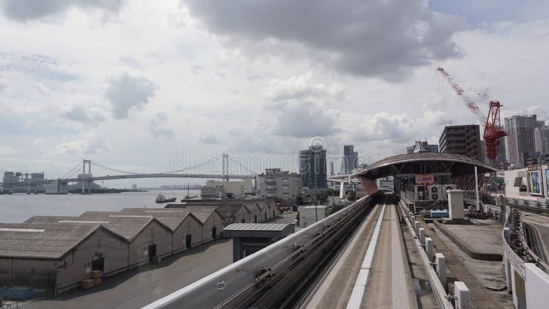Estación de Hinode La mejor característica del Yurikamome es su asiento delantero fotos de archivo libres de regalías