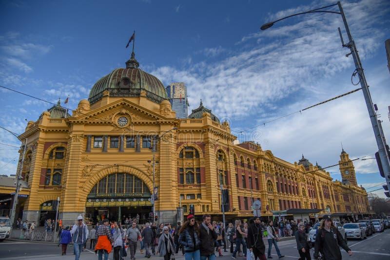 Estación de la calle del Flinders en Melbourne, Australia imagen de archivo libre de regalías