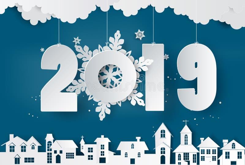 Estación de la Feliz Año Nuevo y del invierno, arte del papel y estilo del arte stock de ilustración