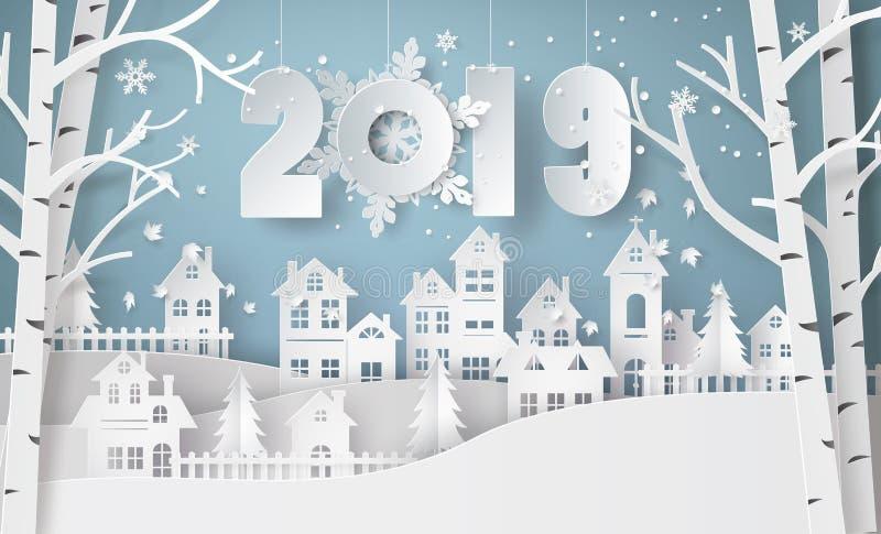 Estación de la Feliz Año Nuevo y del invierno, pueblo urbano de la ciudad del paisaje del campo de la nieve ilustración del vector