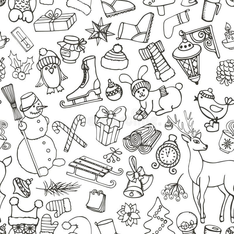 Estación de la Navidad Símbolos del garabato Modelo inconsútil libre illustration