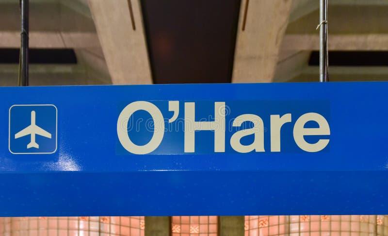 Estación de metro del aeropuerto de ÓHarez - Chicago imagen de archivo libre de regalías