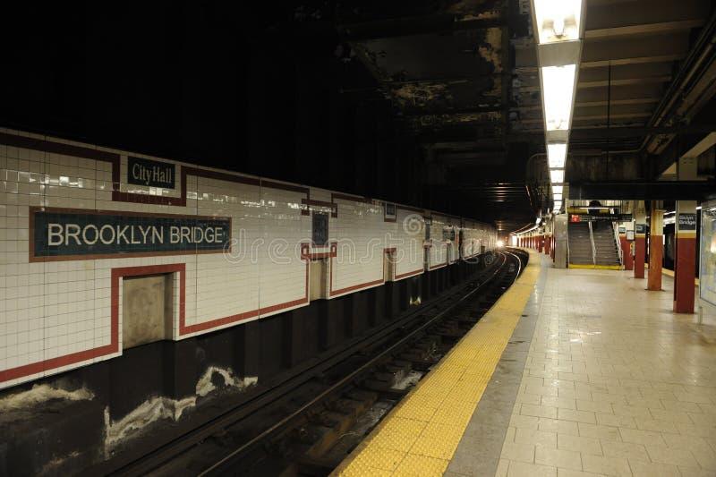Estación de metro del puente de Brooklyn foto de archivo libre de regalías