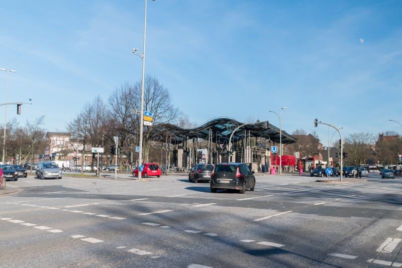 Estación de metro del St Pauli U-Bahn situada en St Pauli, Hamburgo fotografía de archivo