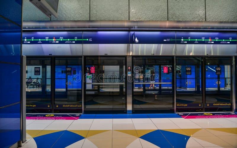Estación de metro en Dubai, UAE fotos de archivo libres de regalías
