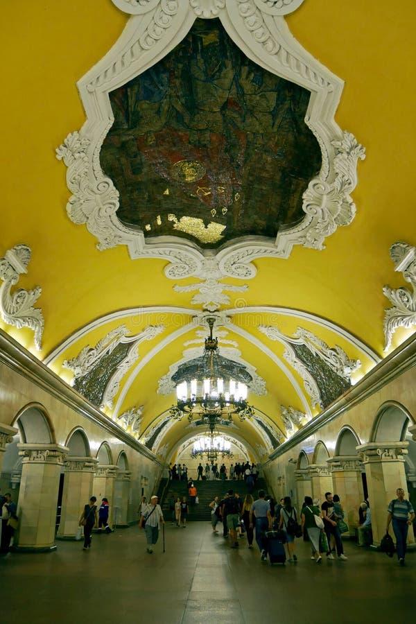 Estación de metro de Komsomolskaya en Moscú, Rusia foto de archivo