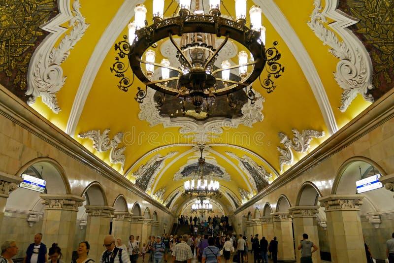 Estación de metro de Komsomolskaya en Moscú, Rusia fotos de archivo