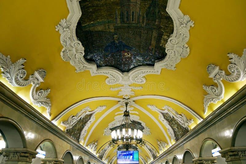 Estación de metro de Komsomolskaya en Moscú, Rusia fotos de archivo libres de regalías
