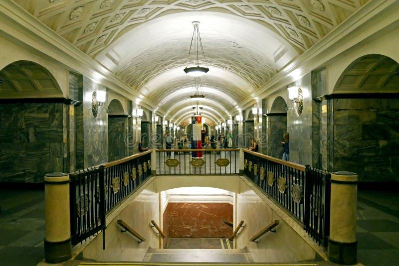 Estación de metro de Kurskaya en Moscú, Rusia fotografía de archivo