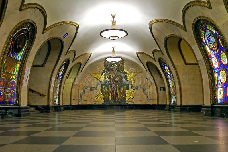 Estación de metro de Novoslobodskaya en Moscú, Rusia fotos de archivo