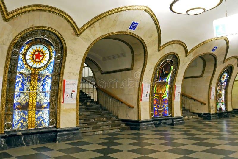 Estación de metro de Novoslobodskaya en Moscú, Rusia fotos de archivo libres de regalías