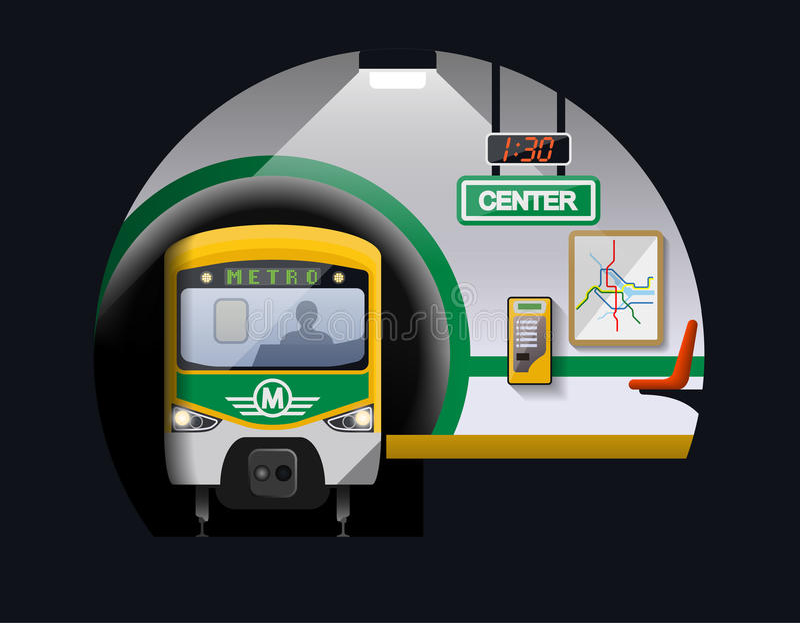 Estación de metro y tren stock de ilustración