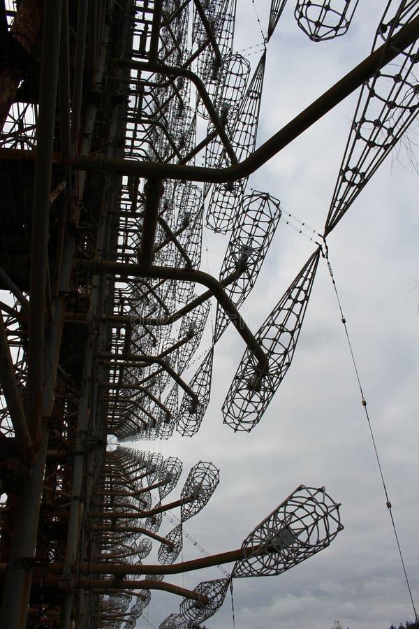 Estación de radar de Horizont del soviet Duga en la zona de exclusión de Chernóbil, Ucrania imagen de archivo libre de regalías
