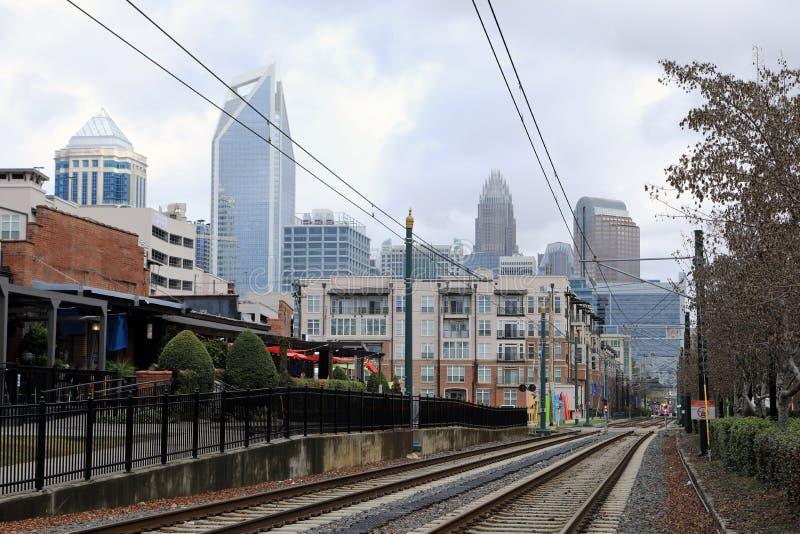 Estación de tranvía rápida en Charlotte, Estados Unidos fotos de archivo libres de regalías