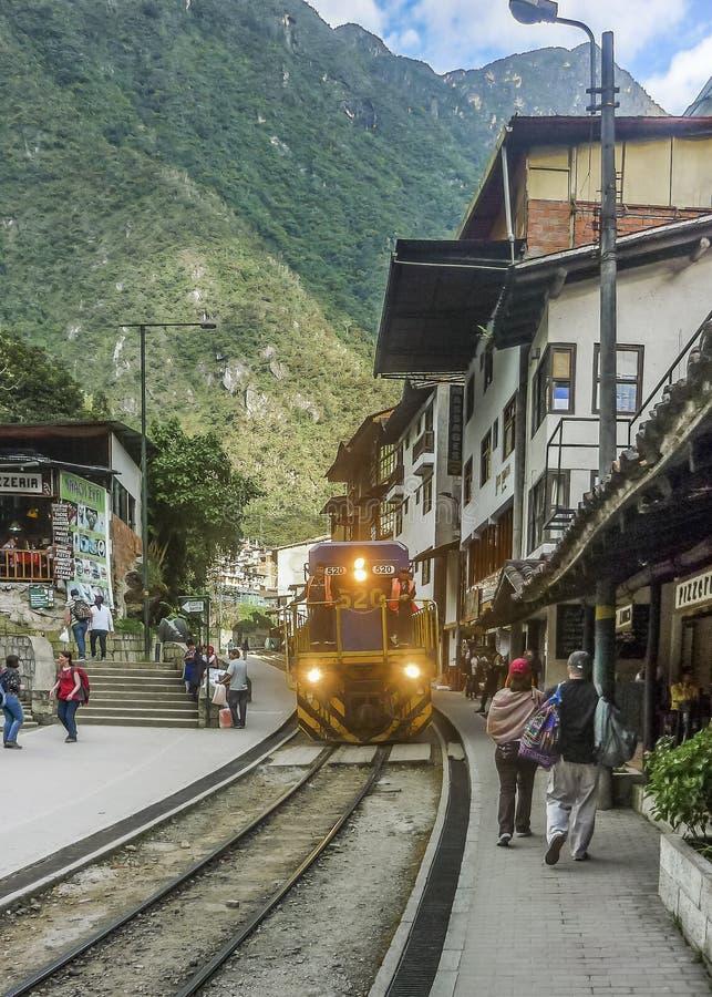 Estación de tren de Calientes de los Aguas fotografía de archivo