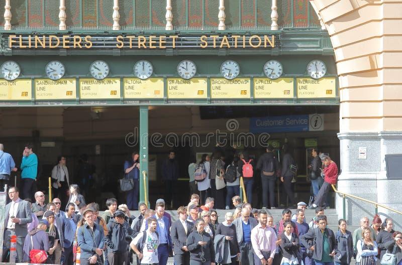Estación de tren de la calle del Flinders Melbourne Australia imágenes de archivo libres de regalías