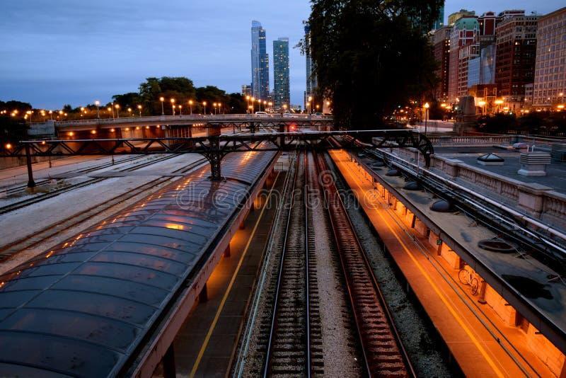 Estación de tren de la estación de la unión de Chicago imágenes de archivo libres de regalías
