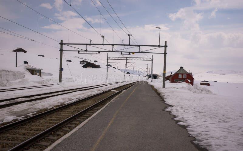 Estación de tren de Myrdal cubierta con la nieve blanca imágenes de archivo libres de regalías