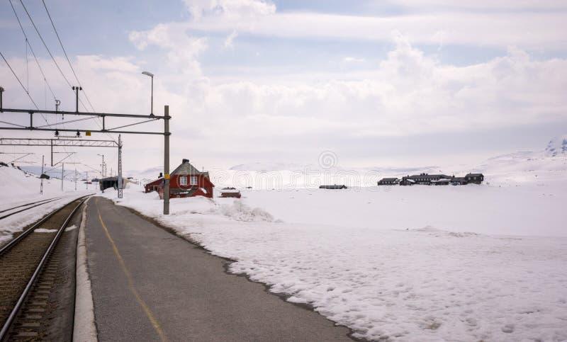 Estación de tren de Myrdal cubierta con la nieve blanca fotografía de archivo libre de regalías