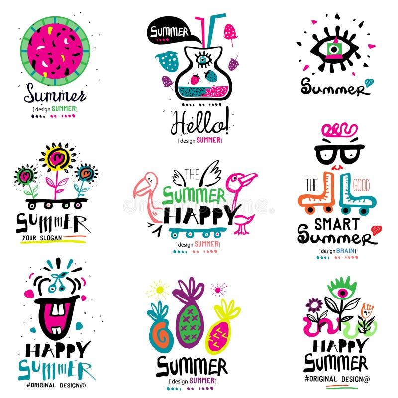 Estación de verano el logotipo y los ejemplos stock de ilustración