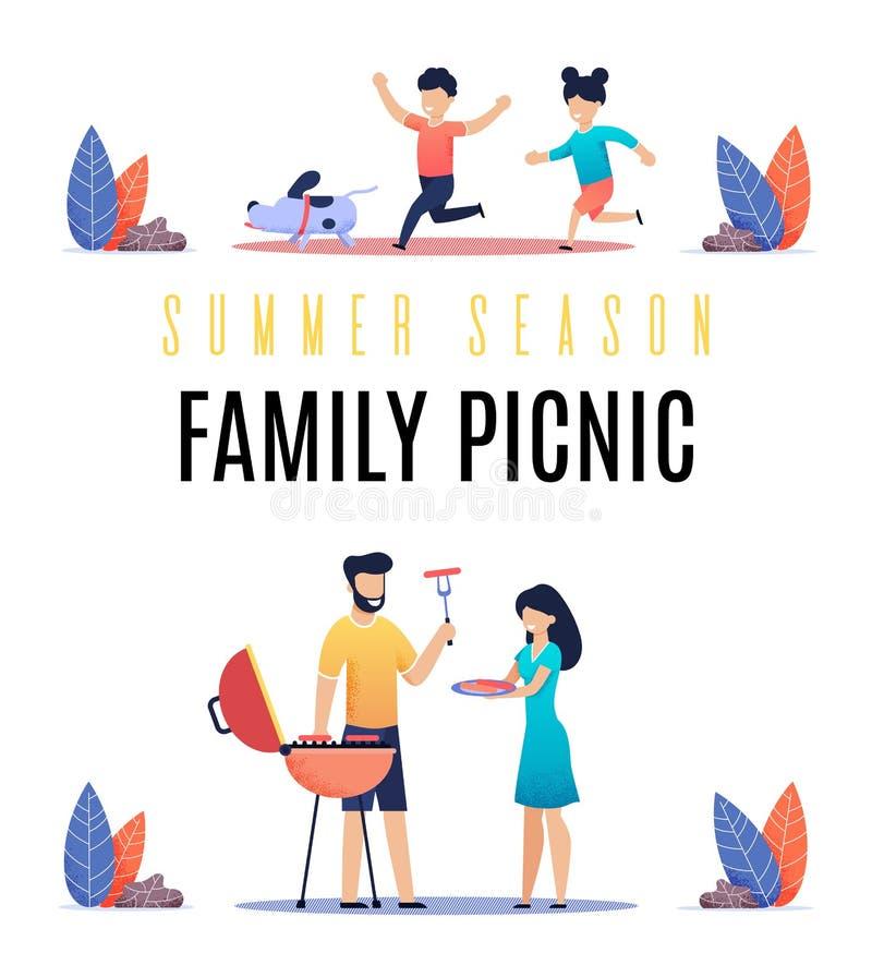 Estación de verano de la inscripción de la bandera, comida campestre de la familia ilustración del vector
