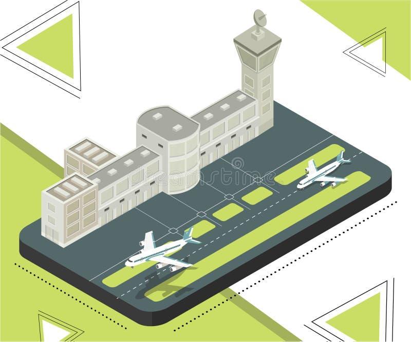Estación del aeropuerto donde los aeroplanos están aterrizando concepto isométrico de las ilustraciones ilustración del vector