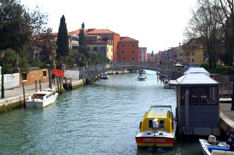 Estación del barco de la ambulancia de Venecia imágenes de archivo libres de regalías