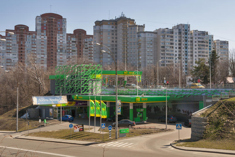 Estación del combustible del EXTRANJERO en Kiev fotografía de archivo