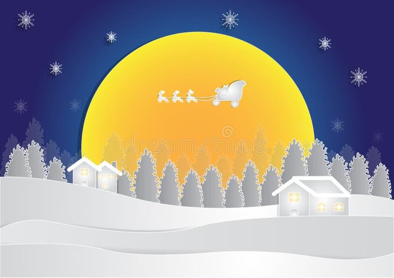 Estación del invierno en el fondo de la noche con la casa y la nieve en bosque en el fondo de la luna, fondo de la Navidad, vecto ilustración del vector