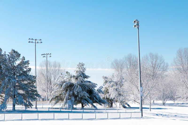 Estación del invierno en parque de la ciudad imagen de archivo