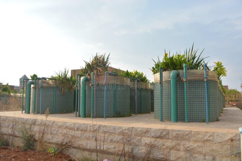 estación del tratamiento de aguas residuales fotografía de archivo libre de regalías