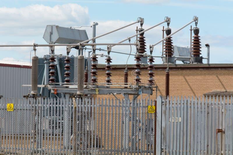 Estación eléctrica del transformador fotos de archivo libres de regalías