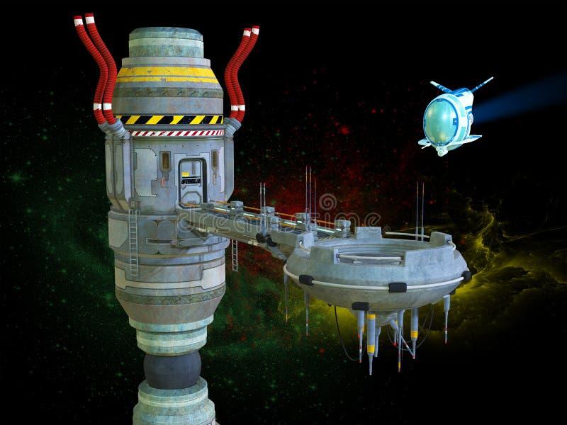 Estación espacial, ciencia ficción, exploración stock de ilustración