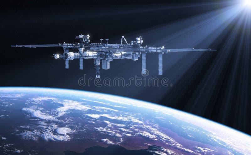 Estación espacial internacional en los rayos de Sun stock de ilustración