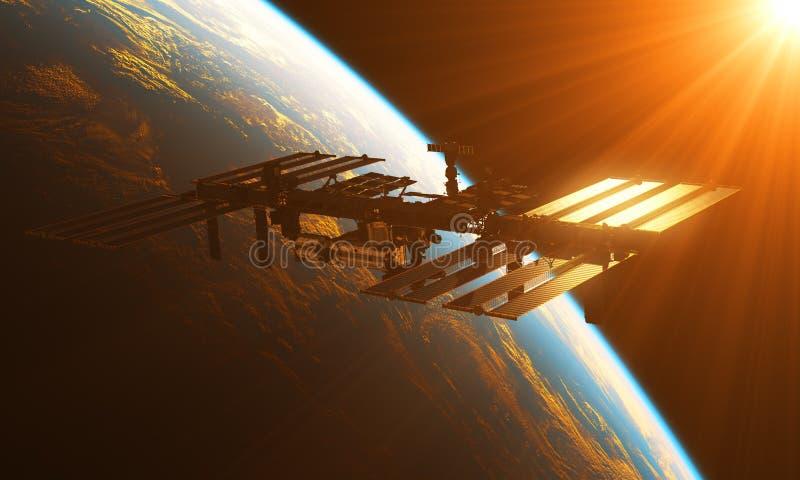 Estación espacial internacional en los rayos de Sun ilustración del vector