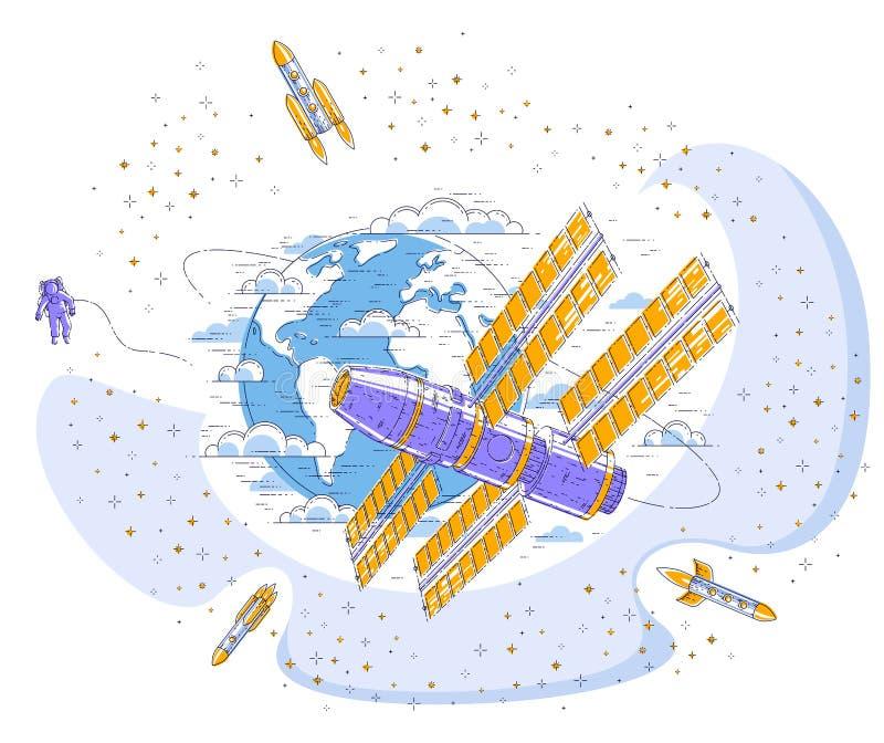 Estación espacial que vuela vuelo orbital alrededor de la tierra ilustración del vector