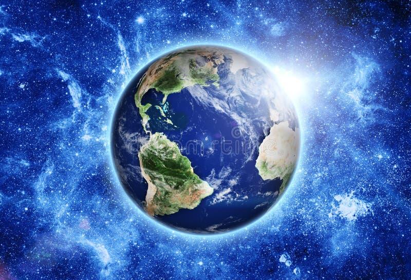 Estación espacial sobre la tierra azul del planeta en espacio. stock de ilustración