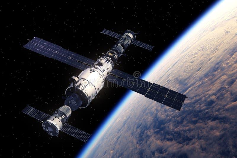 Estación espacial y naves espaciales que están en órbita la tierra stock de ilustración