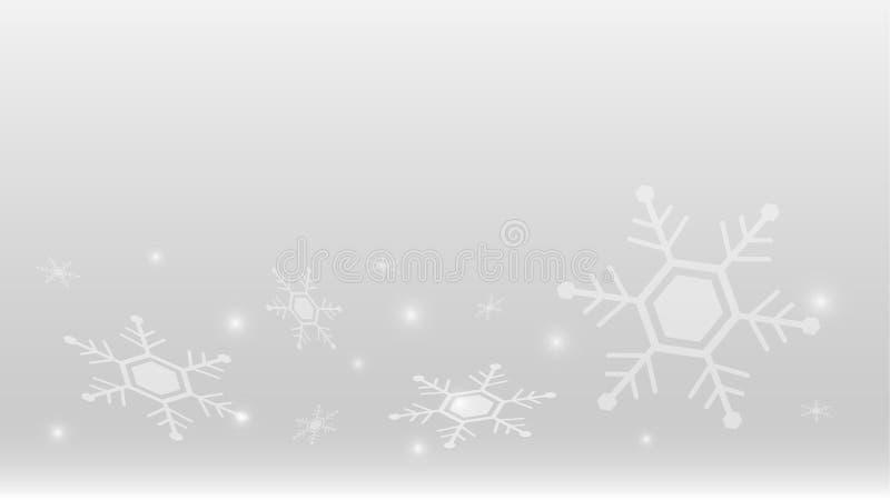 Estación gris del feliz invierno de la Navidad del copo de nieve de la naturaleza del fondo del elemento del vector del extracto  stock de ilustración