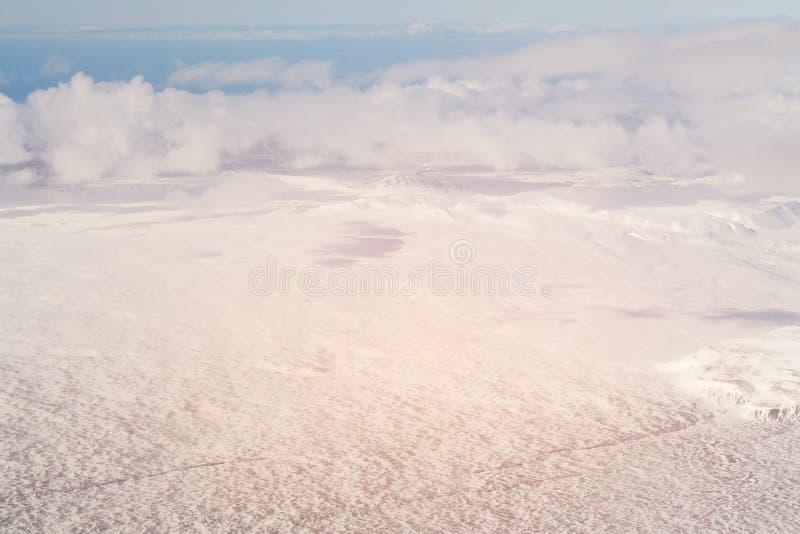 Estación Islandia nevada del invierno de la visión aérea foto de archivo
