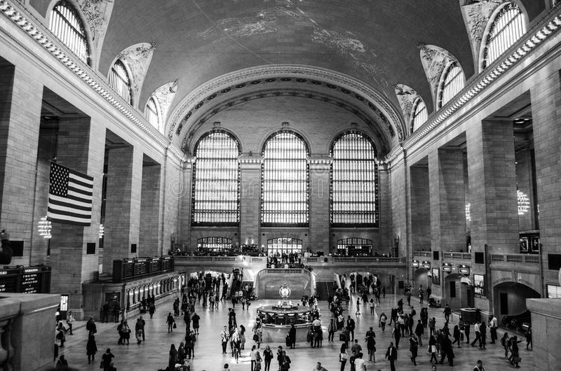 Estación New York City de Grand Central blanco y negro fotografía de archivo