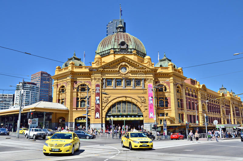 Estación ocupada de la calle del Flinders imágenes de archivo libres de regalías