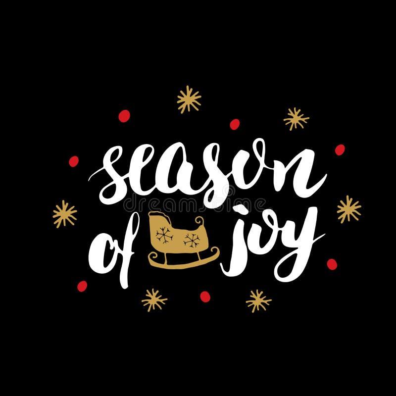 Estación que pone letras caligráfica de la Feliz Navidad de la alegría Diseño tipográfico de los saludos Letras de la caligrafía  stock de ilustración