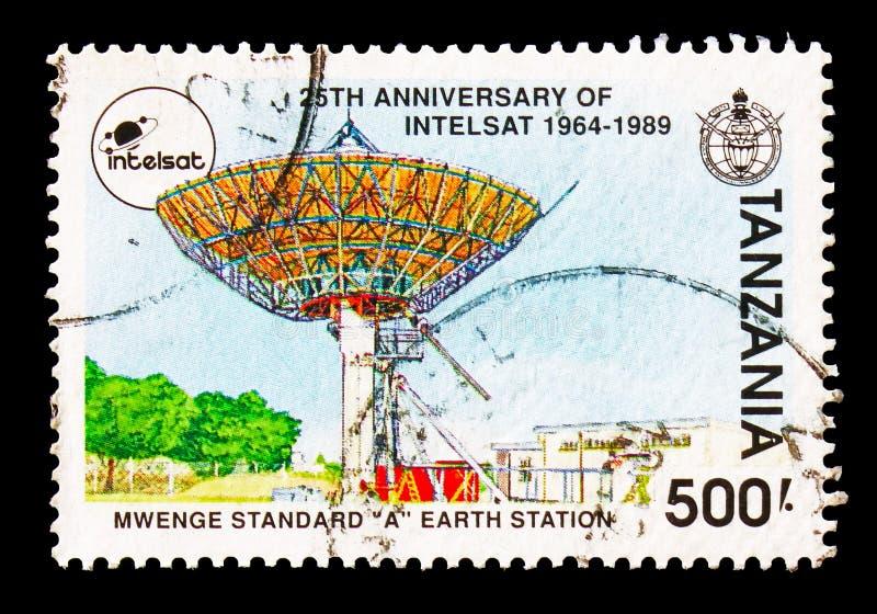 Estación terrestre del estándar 'A' de Mwenge, serie del aniversario de la INTELSAT 25ta, circa 1991 imagen de archivo libre de regalías