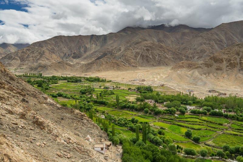 Estación verdosa en la ciudad de Leh, Ladakkh, la India fotos de archivo