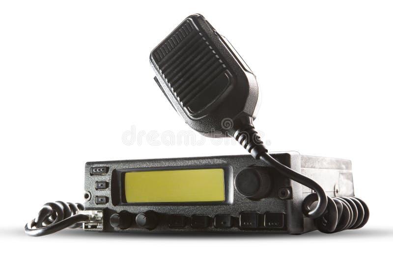 Estación y altavoz del transmisor-receptor de la radio CB que sostienen encendido el aire encendido fotografía de archivo libre de regalías