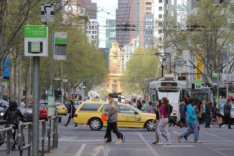 Estación y Elizabeth Street del Flinders imagen de archivo libre de regalías